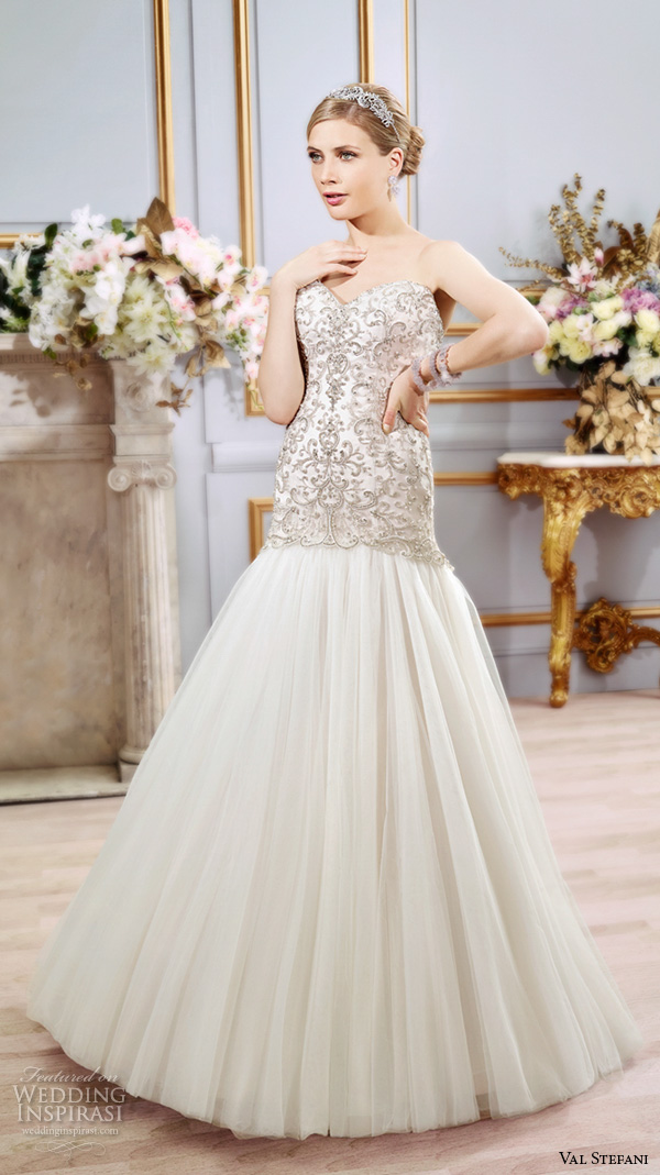 val stefani spring 2016 wedding dresses drop waist trumpet embroidered modified a line tulle skirt gown strapless sweetheart neckline d8103