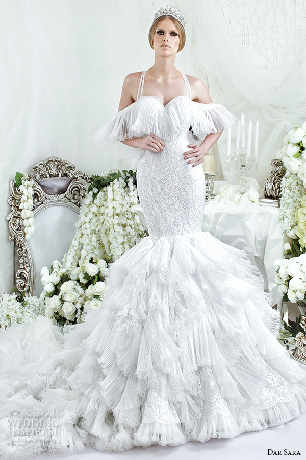dar sara bridal 2016 wedding dresses beautiful off the shoulder sleeves with straps mermaid gown