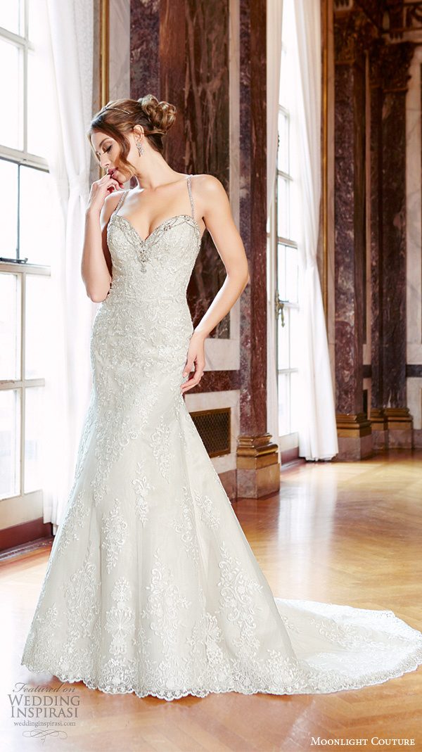 moonlight couture spring 2016 wedding dresses spagetti strap sweetheart neckline beaded embroidery fit flare trumpet beautiful mermaid gown h1292