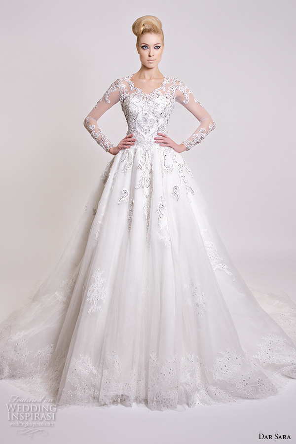 dar sara bridal 2016 wedding dresses beautiful a line ball gown scoop neckline sheer long sleeves embroidered beaded embellishment
