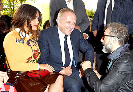 Salma Hayek, Francois-Henri Pinault and Massimo Bottura arrive at the Gucci show during the Milan Fashion Week Spring/Summer 2016 on September 23, 2015 in Milan, Italy.