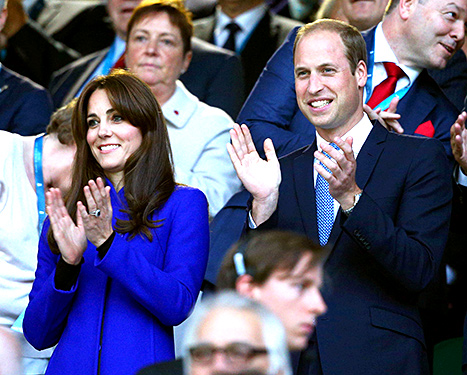 Kate Middleton and Prince William, Duke of Cambridge clap during the opening ceremony of the 2015 Rugby World Cup Pool A match between England and Fiji at Twickenham Stadium on September 18, 2015 in London, United Kingdom.