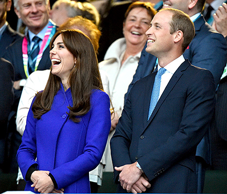 Kate Middleton and Prince William, Duke of Cambridge attend the Rugby World Cup 2016 Opening Ceremony at Twickenham Stadium on September 18, 2015 in London, England.
