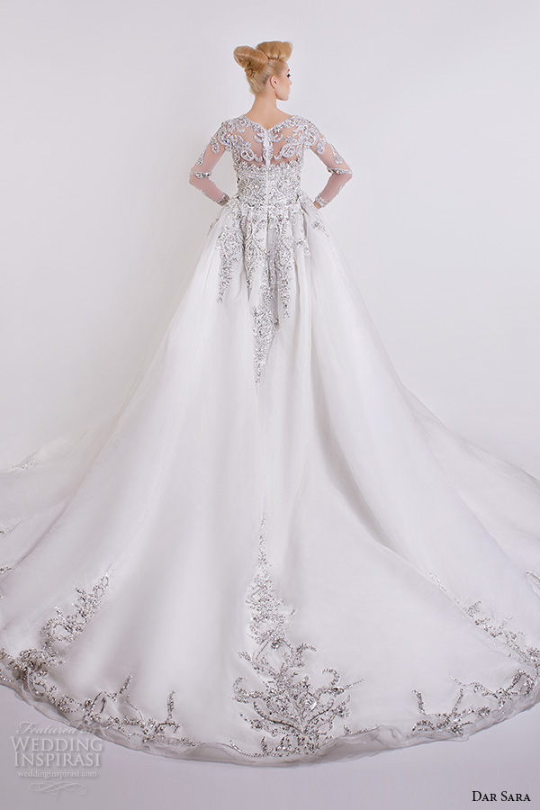 dar sara bridal 2016 wedding dresses gorgeous a line gown embellished sheer long sleeves beaded bodice back view