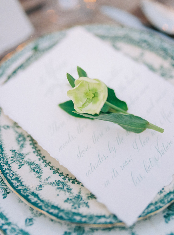 delicate place setting - photo by Wedding Nature Photography http://ruffledblog.com/elegant-vineyard-wedding-inspiration
