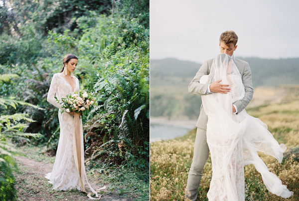 cliffside wedding portraits in California - photo by Emily Fuselier Photography http://ruffledblog.com/cliffside-wedding-portraits-in-california