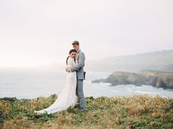 Ruffled - photo by Emily Fuselier Photography http://ruffledblog.com/cliffside-wedding-portraits-in-california