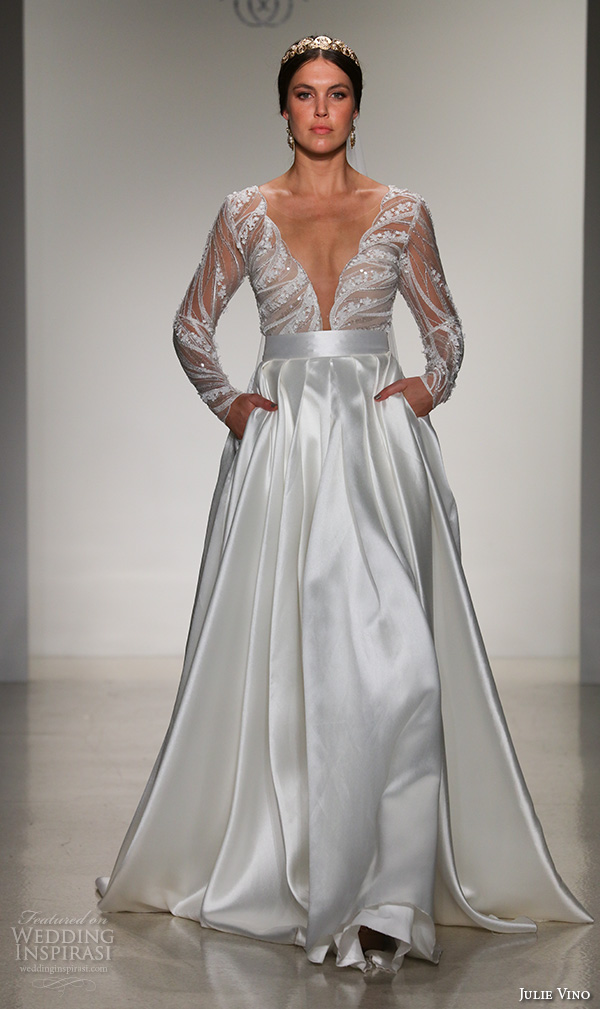 julie vino fall 2016 bridal gowns long sleeves deep v neck satin a line skirt wedding dress style scarlette