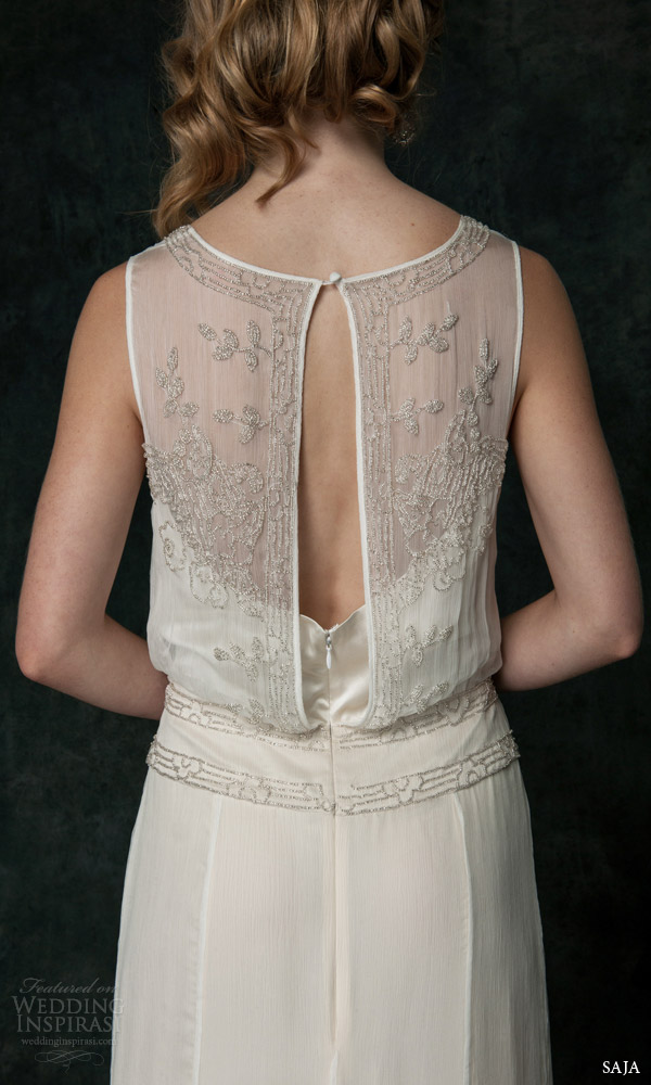 saja wedding 2016 bridal sleeveless wedding dress baroque inspired beadwork bodice ch6225 back view close up keyhole