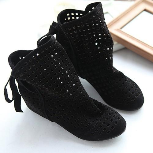 Women-s-Boots-Summer-Cute-Flock-Flat-Low-Hidden-Wedges-Solid-Cut-outs-Ankle-Boots-Ladies