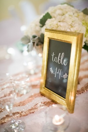 Table Number: Mint and Gold Sequins #Wedding Tablescape - Caroline Ross Photography