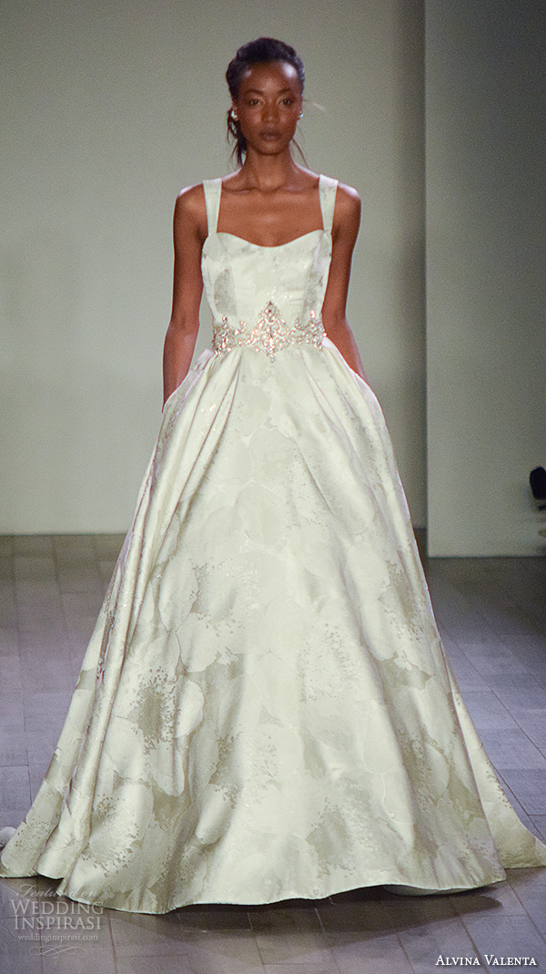 alvina valenta spring 2016 bridal week beautiful a line wedding dress satin floral print jeweled belt