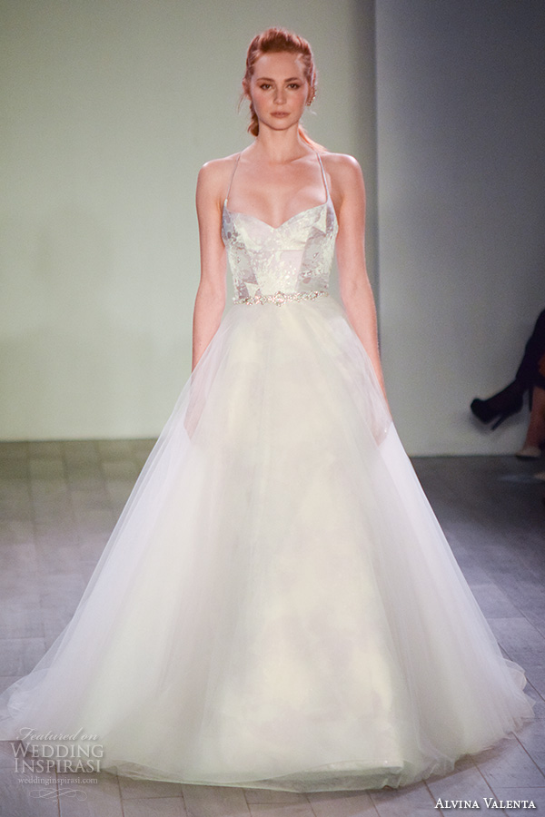 alvina valenta spring 2016 bridal week beautiful a line wedding dress sweetheart neckline tulle skirt halter neck