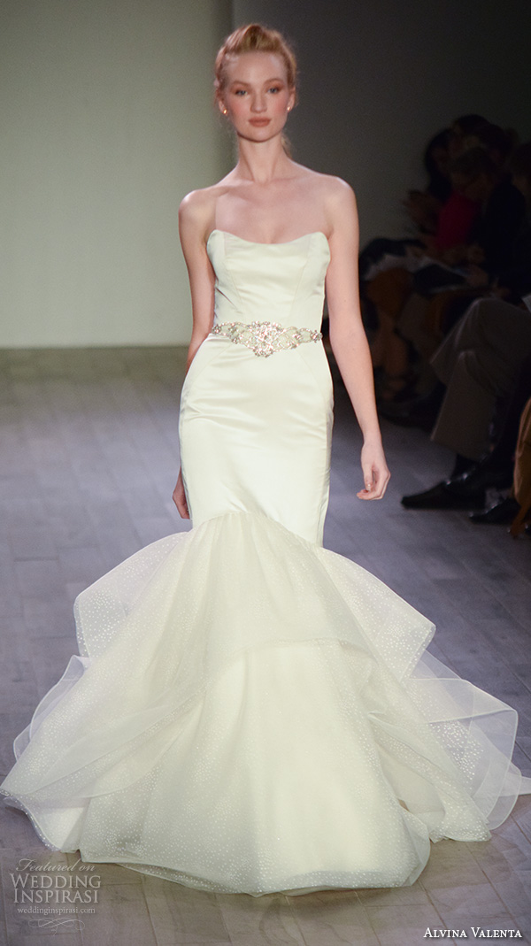 alvina valenta spring 2016 bridal week beautiful mermaid wedding dress strapless jeweled belt satin chic gown
