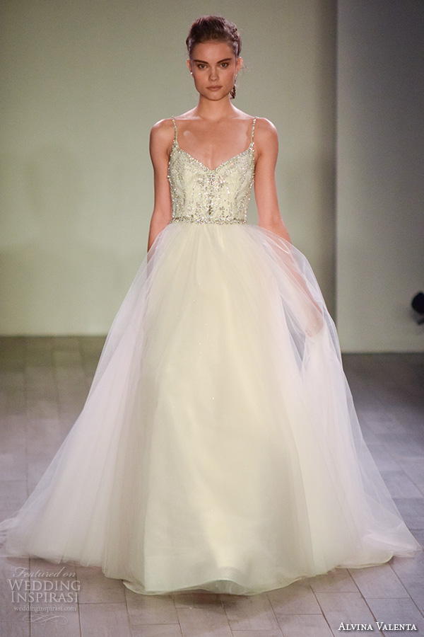 alvina valenta spring 2016 bridal week spagetti strap a line ball gown wedding dress beaded bodice