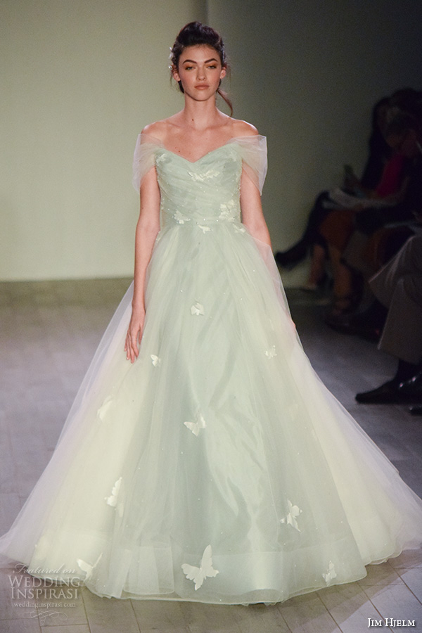jim hjelm spring 2016 bridal week off the shoulder beautiful romantic pastel blue a line ball gown wedding dress