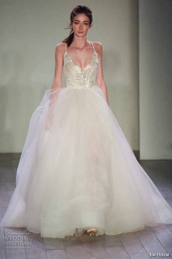 jim hjelm spring 2016 bridal week pretty a line ball gown wedding dress v neck