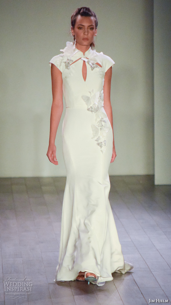 jim hjelm spring 2016 bridal week qipao cheongsam style cap sleeves elegant sheath wedding dress