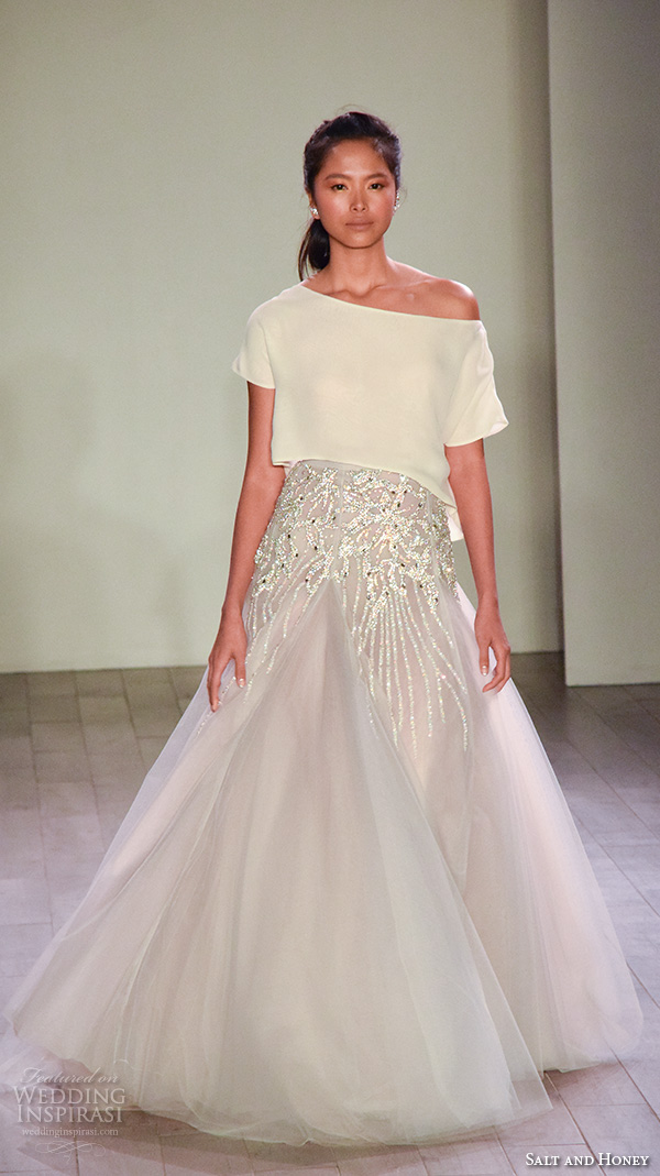 salt and honey fall 2016 bridal week pretty crop top embroidered skirt a line evening wedding dress