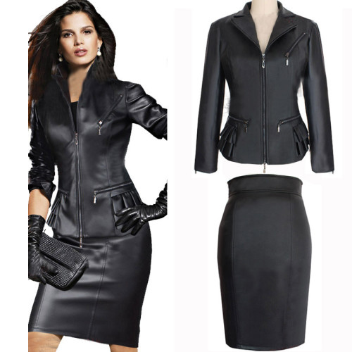 fashion-women-leather-women-clothing-skirt-suit-winter-ladies-top-skirt-set-black-plus-size-women