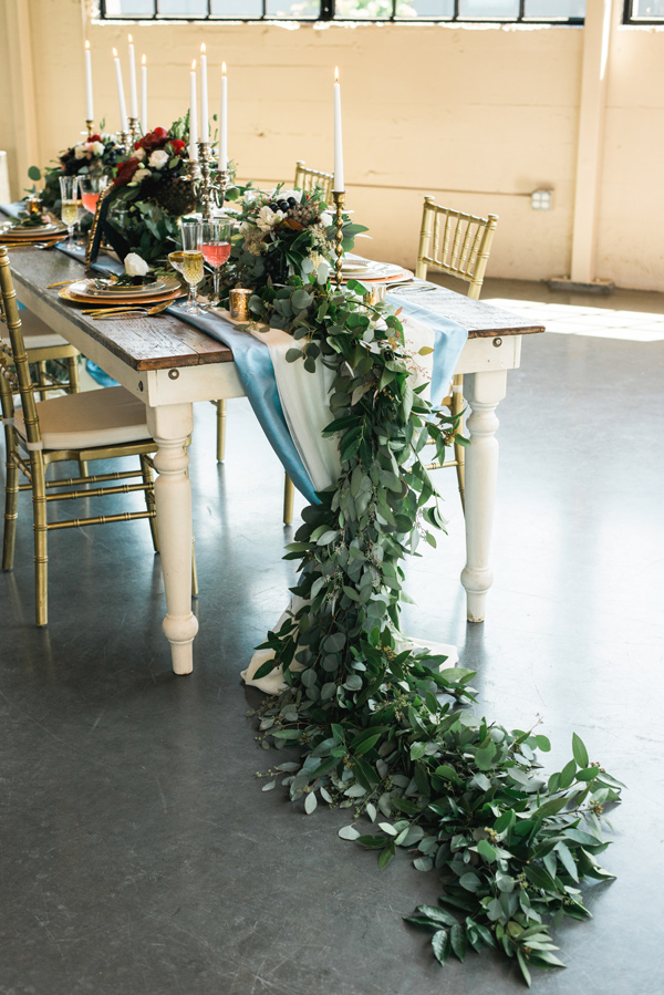greenery table runner - photo by Lauryn Kay Photography http://ruffledblog.com/rich-hued-portland-wedding-inspiration