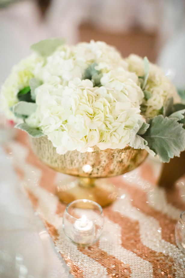 Hydrengea Centerpiece : Mint and Gold Sequins #Wedding Tablescape - Caroline Ross Photography