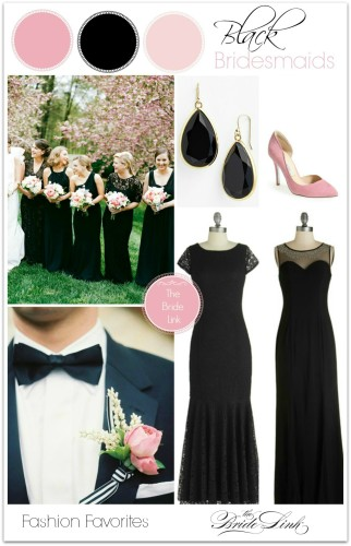pink-and-black-bridesmaids-dresses