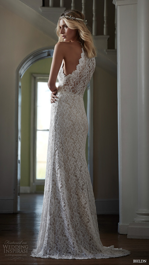 bhldn spring 2016 bridal gowns beautiful elegant halter neck lace sheath wedding dress floral lace embroidery throughout style mina