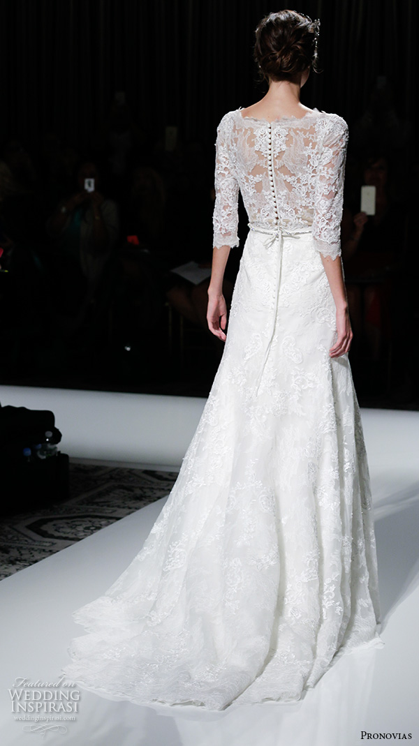 pronovias 2016 bridal gowns bateau neckline 3 quarter sleeves lace embroidered sheer bodice modifed a line wedding dress style timy back