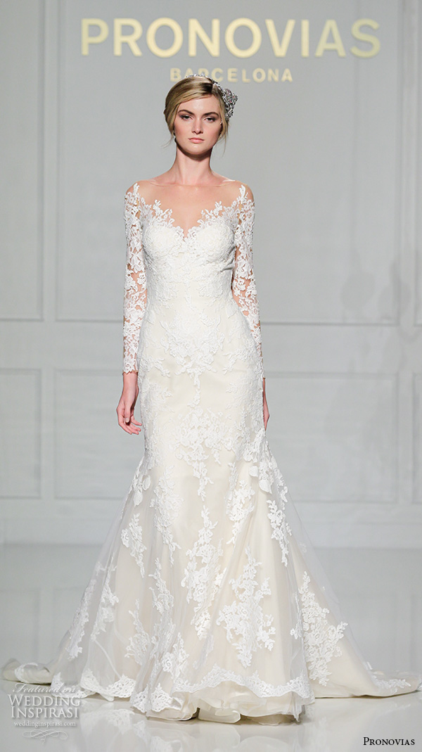 pronovias 2016 bridal gowns beautiful lace long sleeves fit to flare wedding dress mermaid v scallop lace neckline style tibet