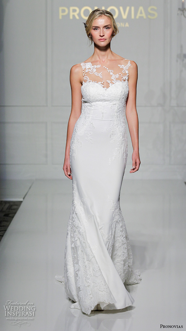 pronovias 2016 bridal gowns beautiful sheer neckline sweetheart lace embroidered sheath wedding dress style prunelle
