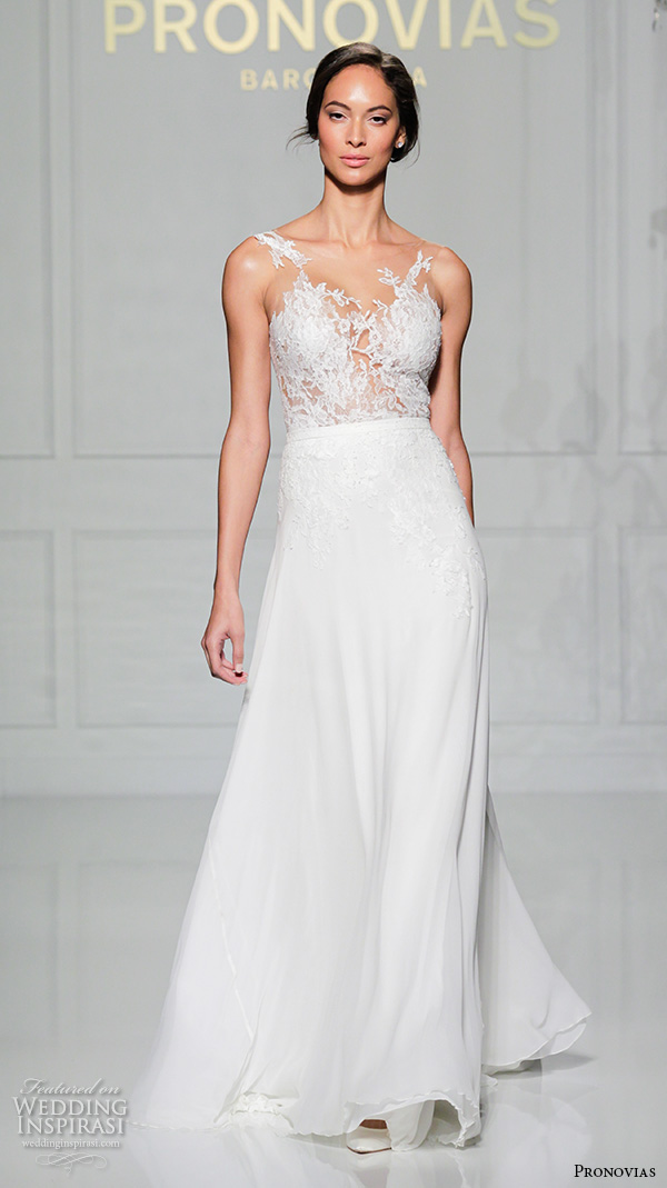 pronovias 2016 bridal gowns floral lace embroidered bodice sheath a line wedding dress style varinia
