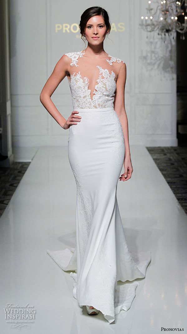pronovias 2016 bridal gowns lace embroidery sheath wedding dress sexy lace embroidered deep v neckline style vicenta