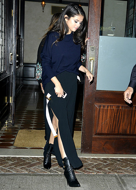 Selena Gomez seen leaving a restaurant in New York City on October 12, 2015