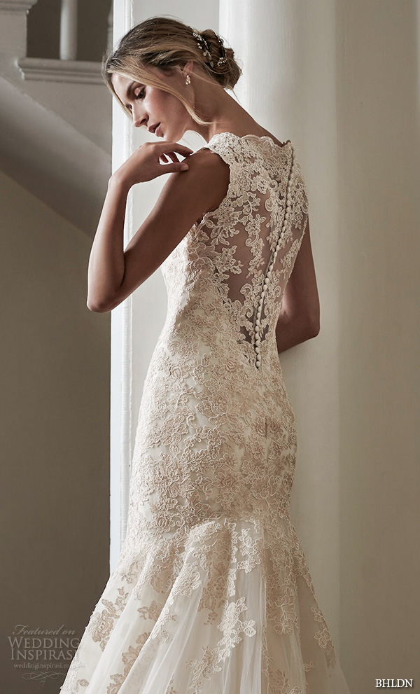 bhldn spring 2016 bridal gowns beautiful mermaid wedding dress fit and flare trumpet style lace embroidery lace button back style perla
