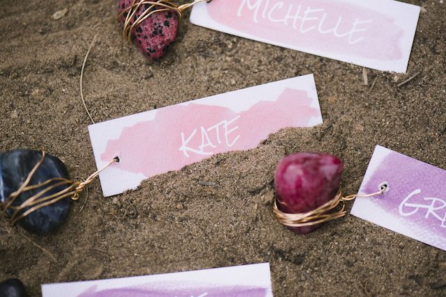 Watercolor place cards | Green Blossom Photography | see more on: http://burnettsboards.com/2015/10/sand-dunes-national-park-wedding/