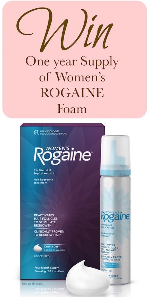Enter to win a one-year supply of Women's ROGAINE® Foam hair regrowth treatment! (ARV $  150)
