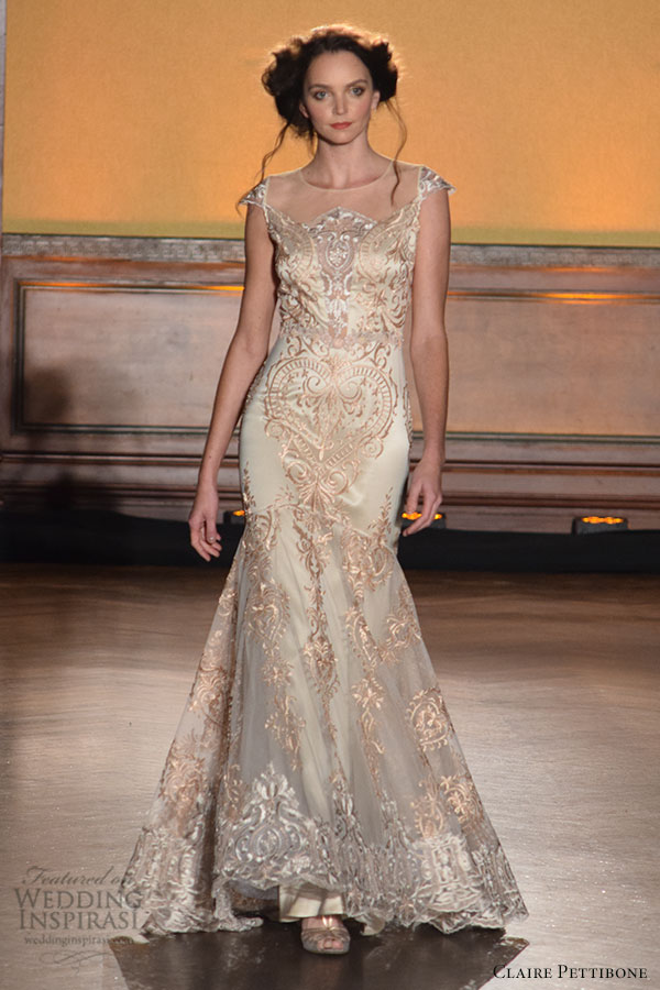 claire pettibone fall 2016 wedding dresses bridal week runway fashion cap sleeves gold embroidery illusion neckline beautiful mermaid dress fit flare trumpet