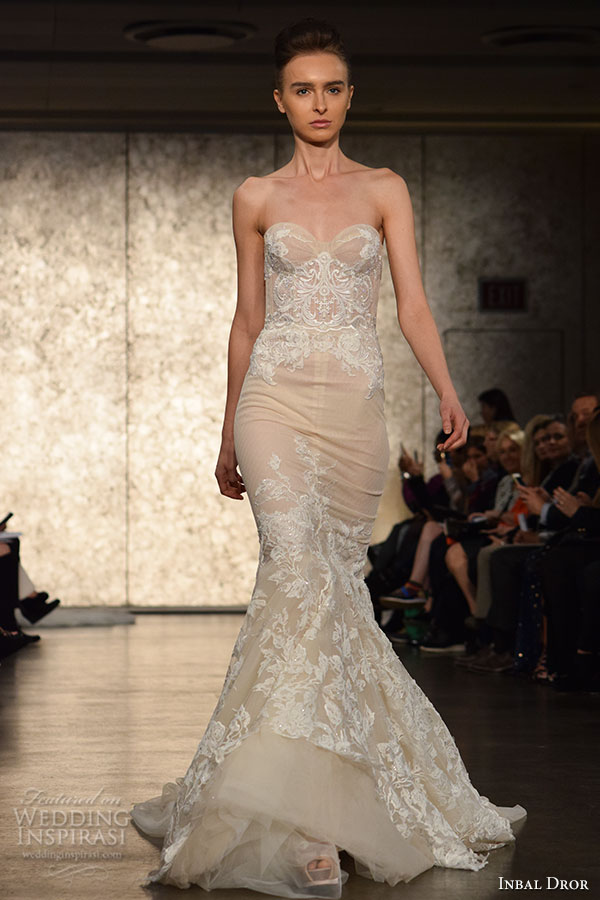 inbal drori fall 2016 wedding dresses bridal week runway fashion strapless sweetheart neckline lace embroidery beautiful mermaid dress