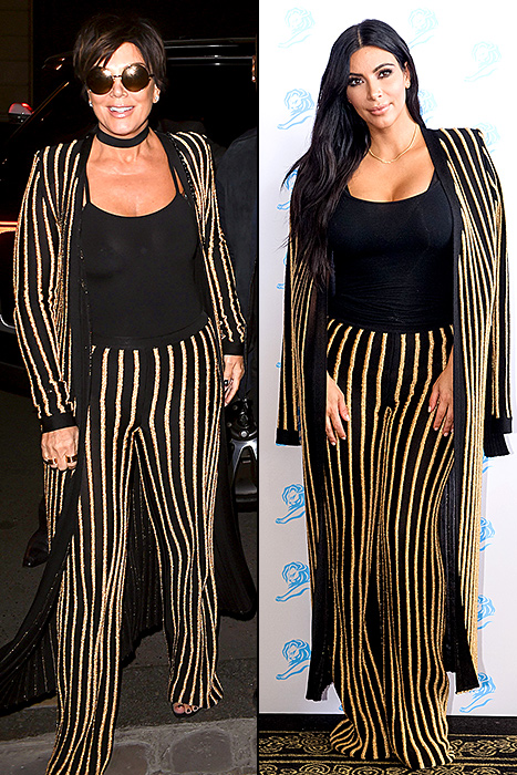 Kris Jenner was spotted at Paris Fashion Week on Friday, Oct. 2, wearing the same striped separates her daughter Kim Kardashian wore in June; vote for who wore it best!