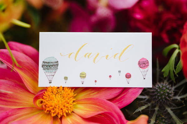 place card - photo by Natalie Franke http://ruffledblog.com/vintage-hot-air-balloon-wedding