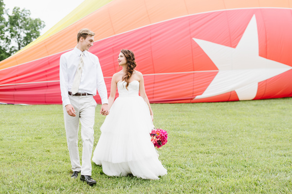 hot air balloon wedding - photo by Natalie Franke http://ruffledblog.com/vintage-hot-air-balloon-wedding