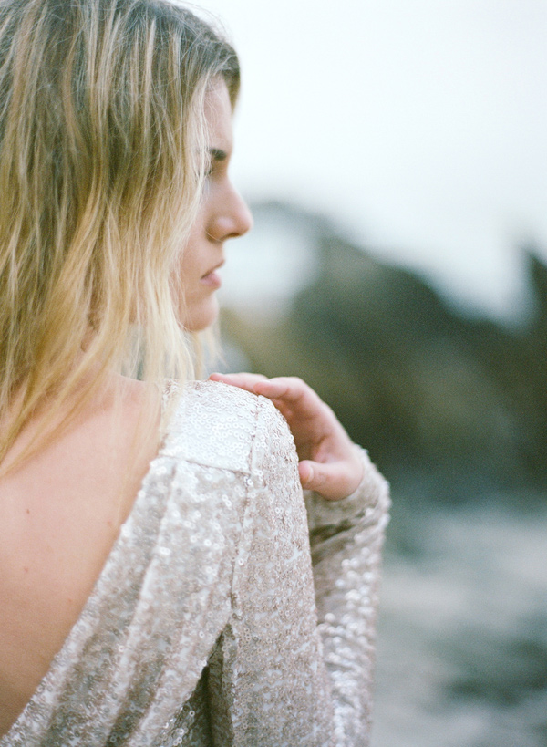 sequin wedding gown - photo by Les Amis Photo http://ruffledblog.com/beach-wedding-inspiration-with-sequin-gowns