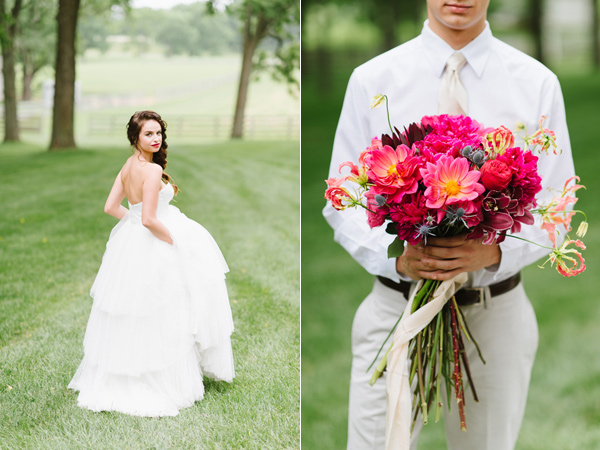 groom with bouquet - photo by Natalie Franke http://ruffledblog.com/vintage-hot-air-balloon-wedding