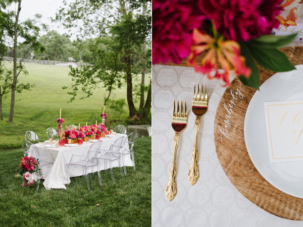 place setting - photo by Natalie Franke http://ruffledblog.com/vintage-hot-air-balloon-wedding