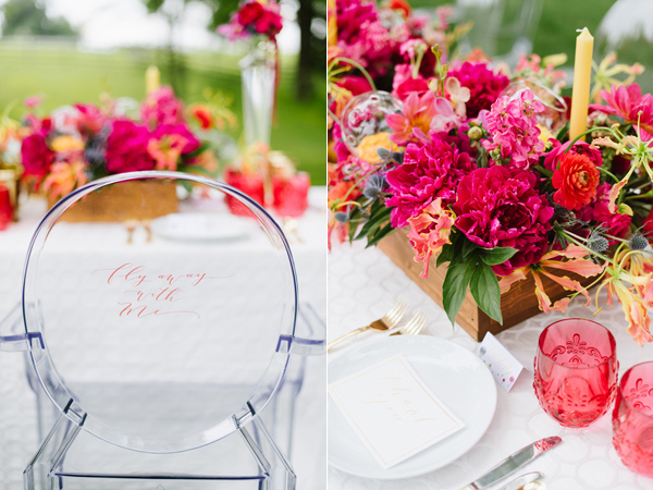 wedding tablescape - photo by Natalie Franke http://ruffledblog.com/vintage-hot-air-balloon-wedding