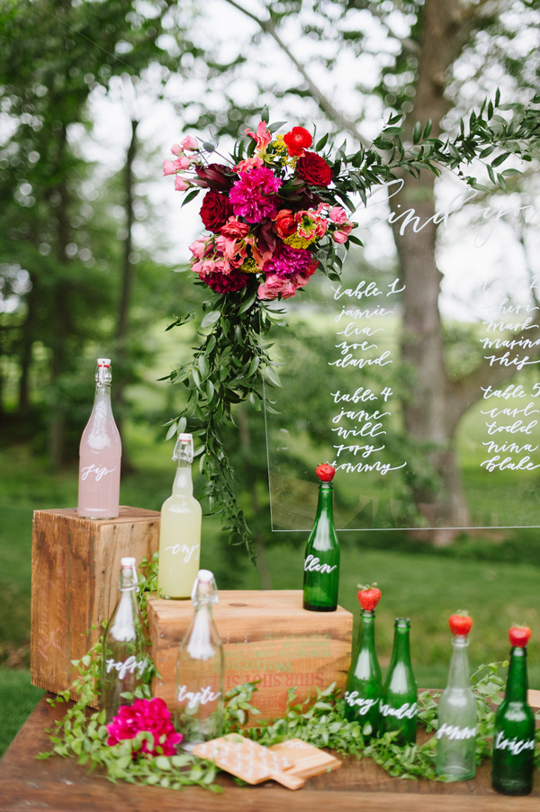 acrylic seating chart - photo by Natalie Franke http://ruffledblog.com/vintage-hot-air-balloon-wedding