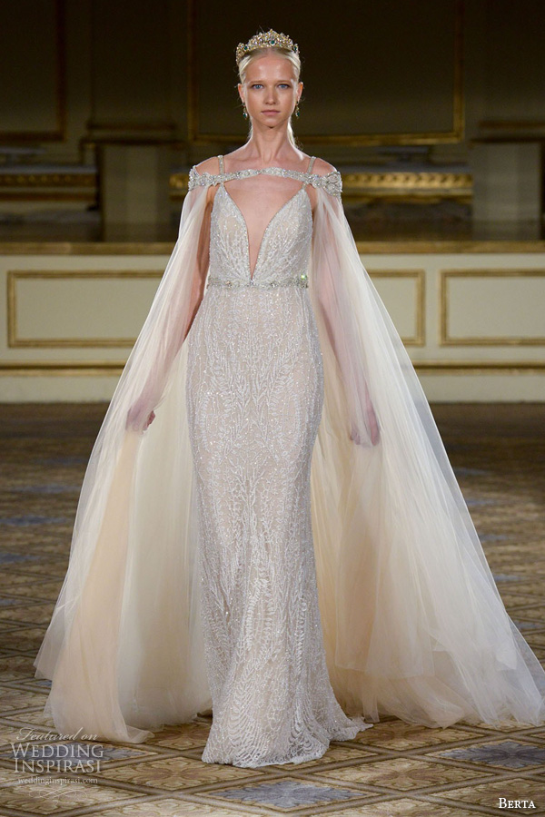 berta fall 2016 bridal gowns sheath wedding dress spagetti strap deep v neckline with tulle cape