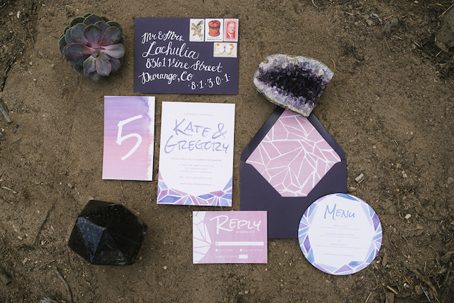 Geode wedding invitations | Green Blossom Photography | see more on: http://burnettsboards.com/2015/10/sand-dunes-national-park-wedding/