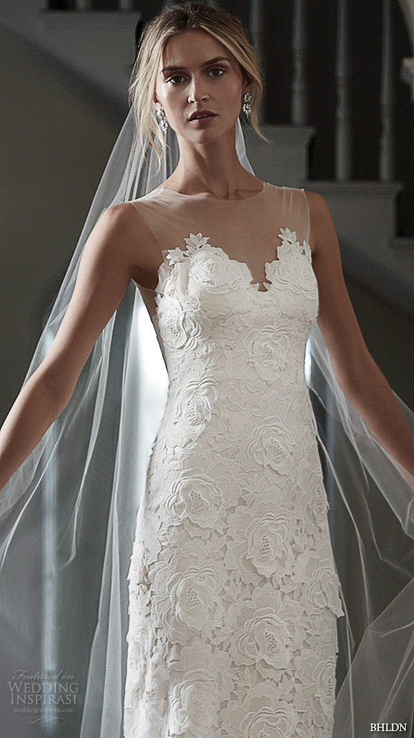 bhldn spring 2016 bridal gowns beautiful sheath wedding dress scallop sweetheart neckline floral lace embroidery sheer jewel neckline style elvie